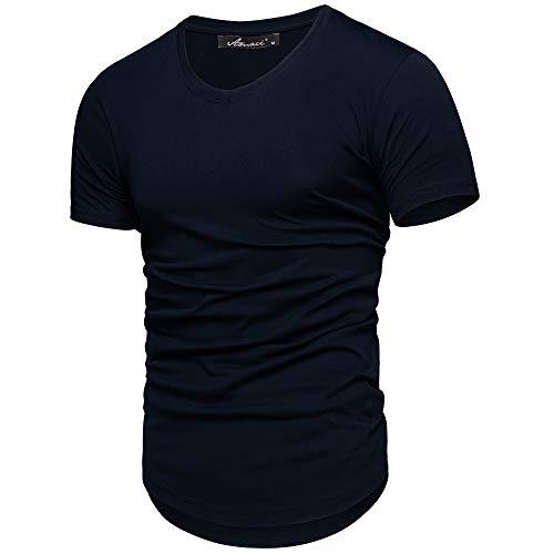Amaci&Sons Oversize Herren Slim-Fit V-Neck Basic T-Shirt V-Ausschnitt 1-0003 Navyblau M
