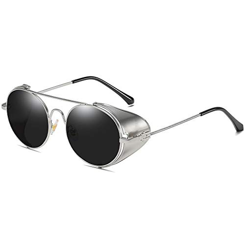 MGWA Gafas de sol con marco de personalidad, estilo casual, estilo salvaje, material de metal, marco plateado, lentes negro/plata, hombres y mujeres c...