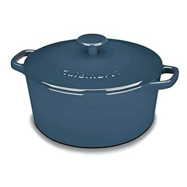 Cuisinart CI650-25BG Chef's Classic Enameled Cast Iron 5-Quart Round Covered Casserole, Provencal Blue