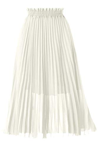 GOOBGS Women's Pleated A-Line High Waist Swing Flare Midi Skirt White XX-Large/XXX-Large