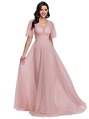 Ever-Pretty Women's Illusion V Neck Short Flare Sleeve Tulle Bridesmaid Dress Pink US4