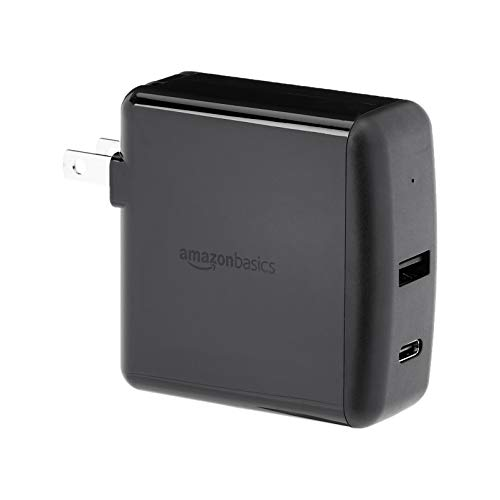 AmazonBasics 2-Port Wall Charger (51W) for Laptops, Tablets and Phones, with 1 USB-A Port and 1 USB-C Port with 30W Power Delivery - Black