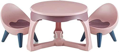 Life Equipment HZY Tabouret de canapé 3 Ensembles de Tables et de chaises pour Que Les Enfants mangent/apprennent/Jouent 1 Table et 2 chaises Table Ronde Chaise Ovale Base Stable (Couleur: Rose