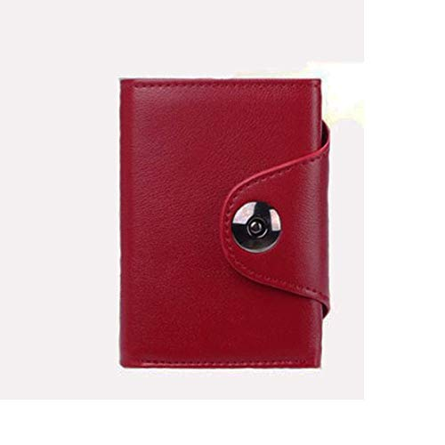 SUNNFLOOWER Cartera de Bolsillo con Bloqueo RFID con función emergente, Cartera para Hombre, Carteras RFID Plegables de Metal Delgadas, Bolsillo con Cremallera, Tarjetero Oyster (Rojo)