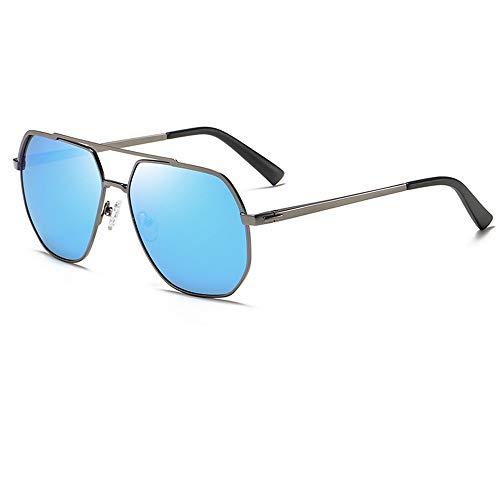 DKee Gafas de sol polarizadas para hombre, para conducción al aire libre, marco polígono, protección UV400 (color: azul)