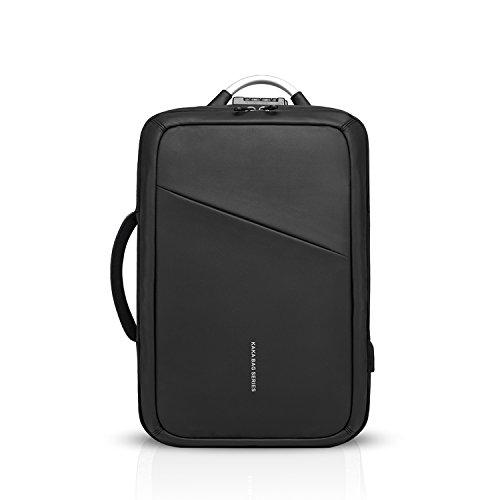 FANDARE Fashion Rucksack Herren Business Laptop USB-Ladeanschluss Tasche Commuter Outdoor Reisen Anti-Theft Handtasche Wasserdicht Polyester Schwarz