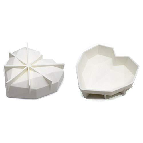 Molde de silicona de 3ª generación con diseño de corazón de diamante para tartas con silicona apta para horno de chocolate, postre, bandeja 3D antiadherente, bandeja de 17,78 cm