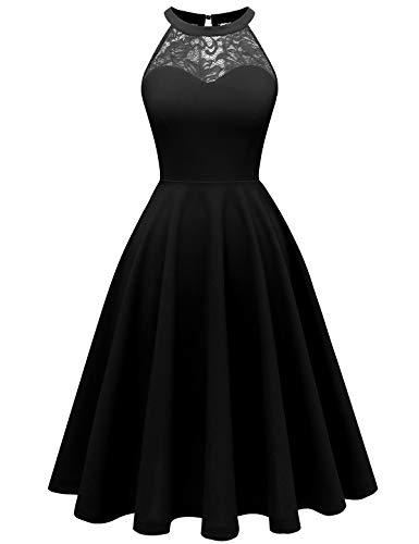 Bbonlinedress Women's Halter Lace Short Prom Party Cocktail Swing Dress