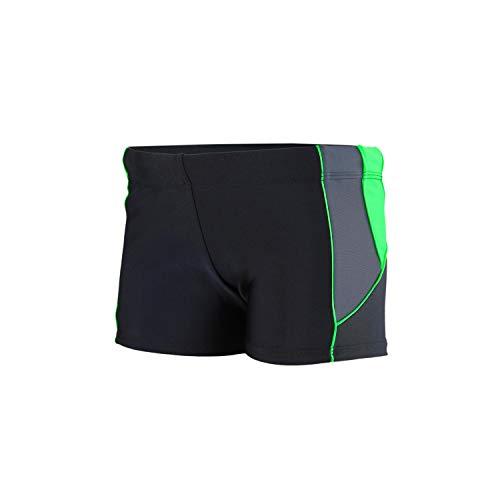 Aquarti Jungen Kurze Badehose mit Einsätze Seitlich, Farbe: Schwarz/Graphit/Grün, Größe: 140