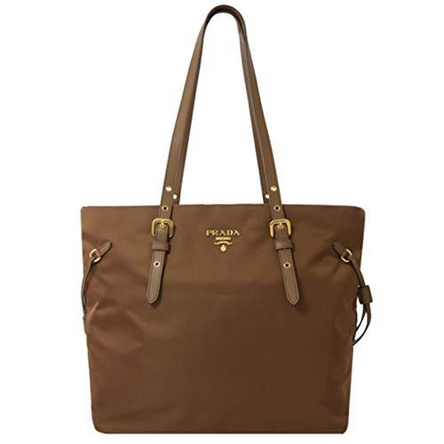 Prada Brown Tessuto Nylon Saffiano Leather Shopping Tote 1BG292