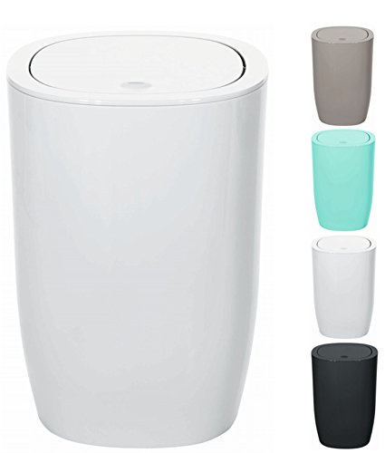 Spirella Design Kosmetikeimer Pure Treteimer Schwingdeckeleimer Abfallbehälter mit Schwingdeckel 5 Liter (ØxH): 17 x 25 cm Weiß