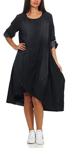 Malito Damen Jeanskleid   stylisches Freizeitkleid   Maxikleid mit ¾ Ärmeln - Kostüm 9961 (dunkelgrau)