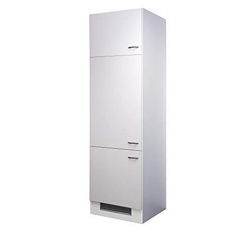 Flex-Well Kühlschrankumbauschrank UNNA | Umbauschrank für Kühlschrank | 3-türig | Breite 60 cm | Weiß