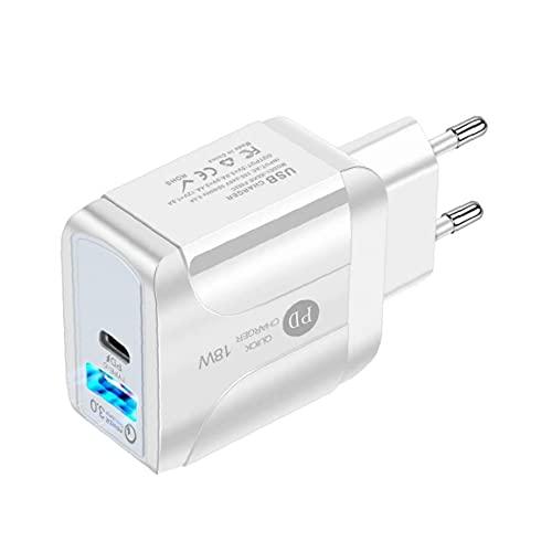 FeelMeet Cargador USB Tipo C Wall rápido Adaptador de energía de 18W PD para teléfonos Inteligentes Blanco de la UE