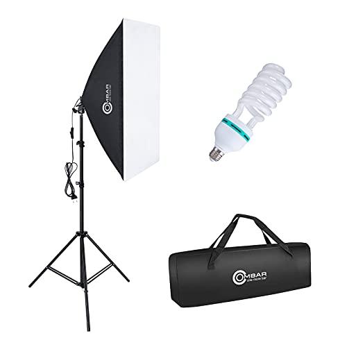 OMBAR Softbox Set Fotostudio 50×70cm, professionelle Fotografie mit 135 W 5500K E27-Tageslichtlampe und Tragetasche für Studio-Porträts Videoaufnahmen, Modefotos. (1 Set)