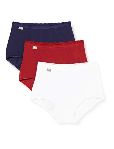 Playtex Culotte Maxi Coton Stretch X3 Intimo, Rouge Carmin/Blanc/Bleu Marin, 50 Donna