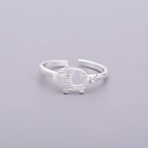 Damen 925 Sterling Silber Ringe Verstellbare,Nettes Schwein Zeichnung Tierische Form Ring Für Frauen Party Dekoration Halloween Kleid Und Veranstaltungsräume Notwendig