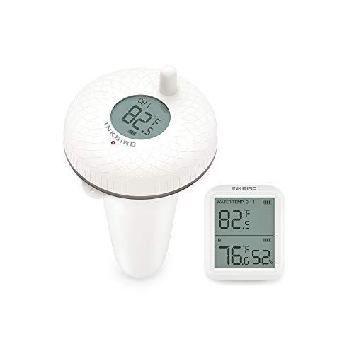 Inkbird IBS-P01R Termómetros para Piscinas con Transmisor Inalámbrico+Receptor Monitor de Temperatura y Humedad, Termómetro Flotante para Piscinas Interiores y Exteriores, Peces Estanques y Ja