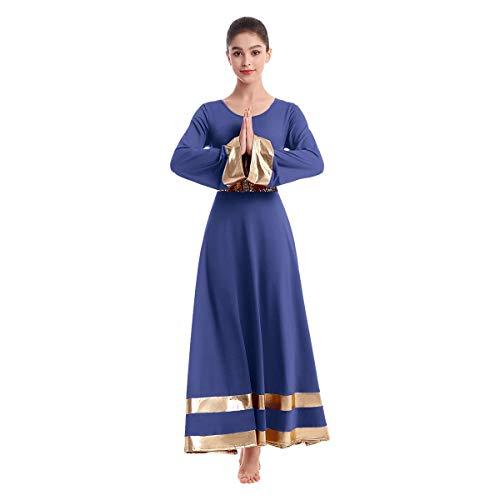 Women Metallic Gold Bell Long Sleeve Dance Robe Praise Liturgical Dress Full Length Loose Fit Worship Costume w/Sequin Elastic Belt Waistband Swing Gown Tunic Dancewear Set Navy Blue+Gold M