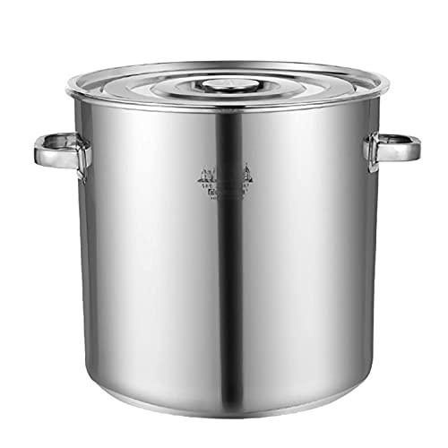 Olla de cocina al vapor, olla de sopa profunda de acero inoxidable gruesa comercial para catering, con tapa, para estufa de gas/cocina de inducción (12-140L) Sartén de cocción (tamaño: 40