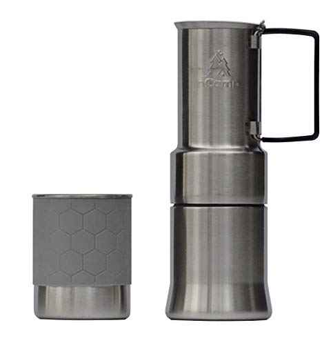 nCamp Portable Camping Coffee Maker, Compact Espresso Style, Stainless Steel Stovetop Cafe Gear for Camping Backpacking Hiking Outdoor Cooking Camp Chef Stove