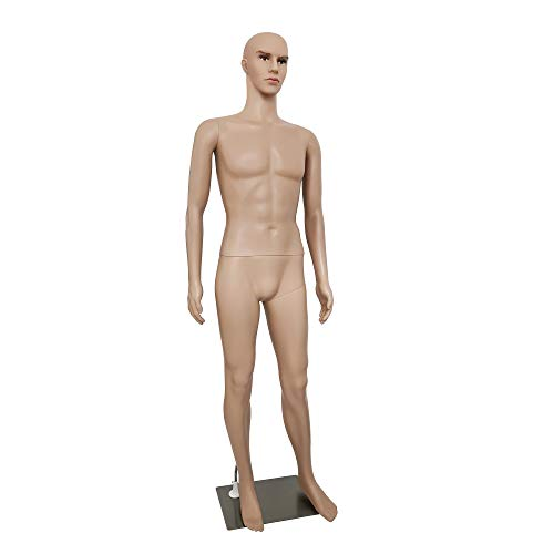 Male Mannequin Full Body Adjustable Mannequin Torso Dress Form with Metal Base 73inches