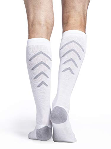 SIGVARIS 401 Athletic Recovery Calcetines altos para hombre y mujer de 15 a 20 mmHg, Blanco, M