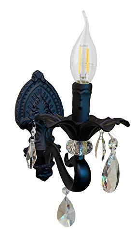 Vetrineinrete Applique candelabro con pendenti a gocce di cristallo in acrilico stile retrò attacco E14 nero M62