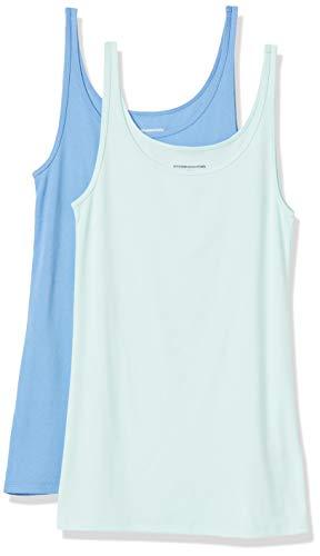 Amazon Essentials 2-Pack Thin Strap Tank T-Shirt, Light Aqua/French Blue, S