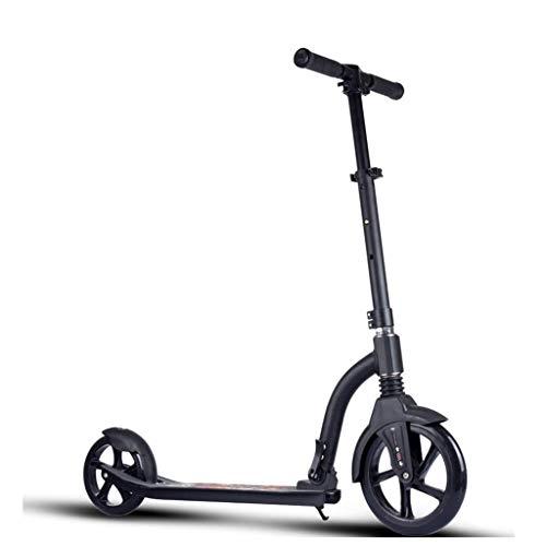 Cityroller Erwachsene, Riesenrad-Tretroller, Jugend-Erwachsenen-Roller Mit Bremsgurtfederung, Stylischer Schwarzer Klapproller, Zuladung 120KG (Nicht Elektrisch)