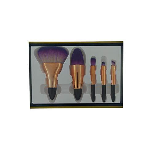 Pinceaux de Maquillage 5pcs Pinceau de Maquillage Kabuki Brosse Fondation de cosmétiques Anti-cernes Poudre Blush mélange Visage Ombre à paupières pinceaux,Purple