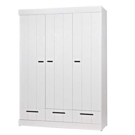 Alfred & Compagnie - Armadio a 3 ante, 3 cassetti, in legno massiccio, colore: Bianco