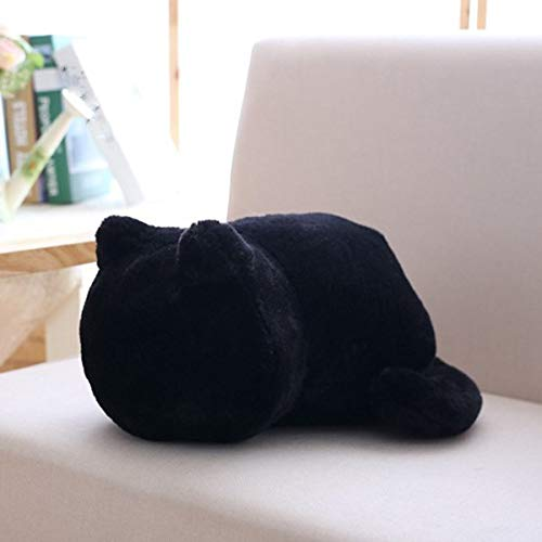 Coomir Cushion Cat Plüsch-Spielzeug, Geschenk zum Geburtstag, weich, bequem für Kinder, Plüschspielzeug, Katzen-Simulation, Kissen (Schwarz)