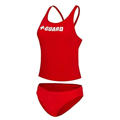 BLARIX Guard Tankini Swimsuit 2 Piece (Red, Medium)