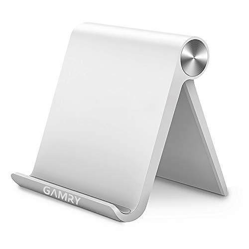 タブレットスタンド 卓上 スマホホルダー 折りたたみ式 iPadスタンド 携帯式 ABS素材 スマホスタンド 角度調整可能 4-12.9インチに対応 滑り止め防止 事務 在宅勤務用 iPad Pro,iPhone 11 Pro Max,Xperia,Huawei mediapad,Galaxy等スマホやタブレットに適用 (ホワイト)
