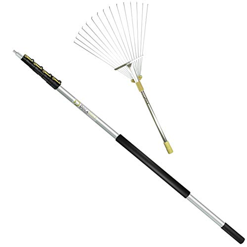 DOCAZOO - DocaPole Roof and Yard Rake Extension Pole - Adjustable, Telescopic, Clean Leaves, Sticks...