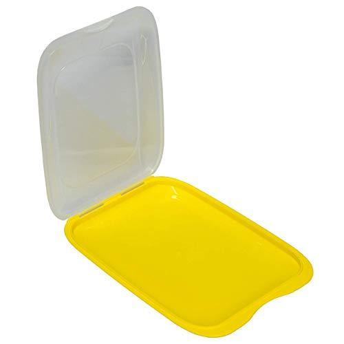 Hochwertige stapelbare Aufschnitt Box Frischhaltedose mit Deckel Wurstbehälter Vorratsdose aus Kunststoff Gelb