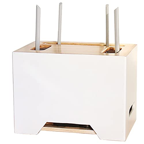 Estante Flotante Montado En La Pared Caja De Administración De Cables Caja De Almacenamiento De Enrutador De Tres Capas Estante Flotante De TV (Color : Blanco, Size : 32x23x22cm)