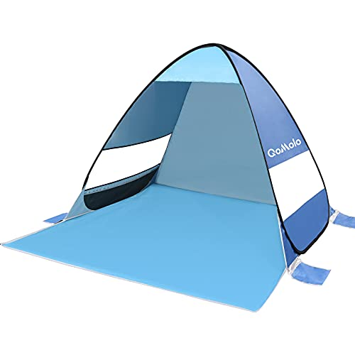 Qomolo Strandmuschel, UV Schutz 50+ Pop Up Strandzelt für 1-2 Personen, Tragbares Campingzelt zum Wandern, Picknicken, Angeln, Garten- und Outdoor-Aktivitäten (Blau)