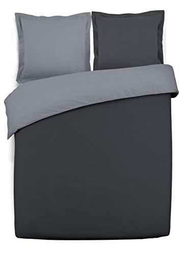 VISION - Housse de couette réversible - 200x200cm - anthracite/gris