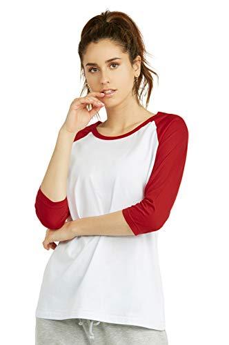 Cottonbell Women's Baseball Quarter Sleeve Tee Shirt (M, White/Red)