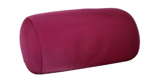 Invitalis Nackenrolle mit Mikroperlen in 19 Farben - Öko tex Standard 100 - Orthopädisches Relaxkissen als Kopfkissen, Reisekissen und Nackenkissen Zuhause oder auf Reisen - Brombeer / Rot
