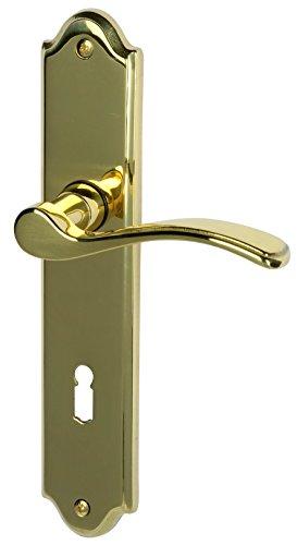 Alpertec 32760053 Lori-LS Messing poliert für Zimmertüren Drückergarnitur Türdrücker Türbeschläge Neu
