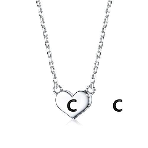 SIMPLGIRL Collar de Corazón Inicial, Plata de Ley Chapada en Blanco de 18K Pequeño Alfabeto Colgante Collar con Nombre Personalizado Collar con Letra C Minúsculas Gargantilla para Niñas Mujeres