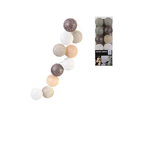 Groupe CMP - Guirlande de 10 Boules LED - Couleur Taupe, Marron - LA10282