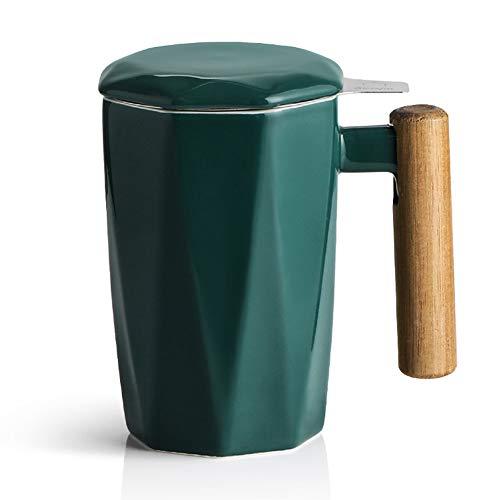 SWEEJAR Teetasse aus Porzellan mit Teesieb und Deckel, Holzgriff, 500 ml, geometrische Form, Teetasse zum Ziehenlassen, Teeliebhaber, Geschenk, Zuhause, Büro (Jade)