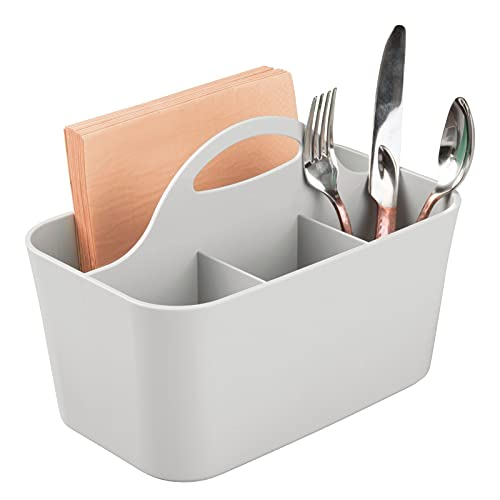 mDesign Plastic Cutlery Storage Organizer Caddy Bin - Tote with Handle - Kitchen Cabinet or Pantry - Basket Organizer for Forks, Knives, Spoons, Napkins - Indoor or Outdoor Use - Light Gray