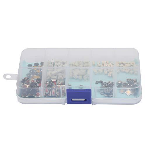 Jershal Kit de Interruptor táctil - 250 Piezas Mixtas 10 Tipos de Kit de Interruptor táctil táctil de Control Remoto para múltiples propósitos