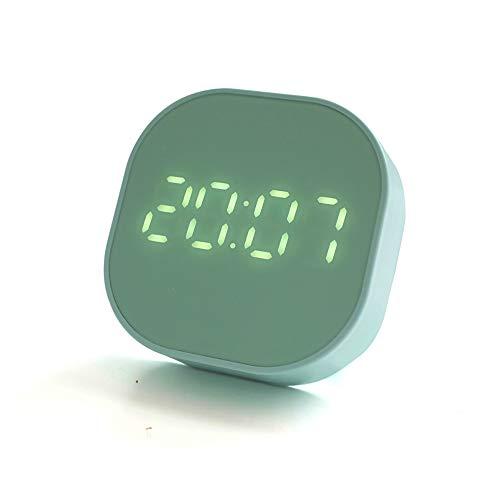 Misoler Temporizador Despertador, Reloj Digital LED Portátil, Reloj de 12/24 Horas, Adsorción Magnética, Función de Cuenta Atrás, USB y Funcionan con Baterías, Verde Menta