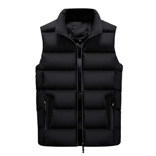 Aoogo Männer Casual Winter Warm Zipper Sleeveless Weste Jacke Mantel Outwear Tops Bodywarmer Steppweste Funktionsweste Outdoor Freizeit Sport Style Winddichte mit Kapuze und Stehkragen